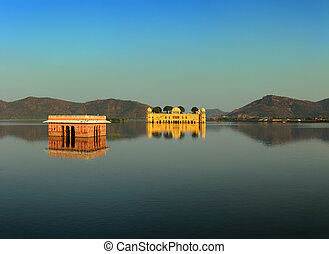 landscape with jal mahal on lake in Jaipur India