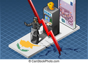 Isometric cyprus crisis - Detailed illustration of a...