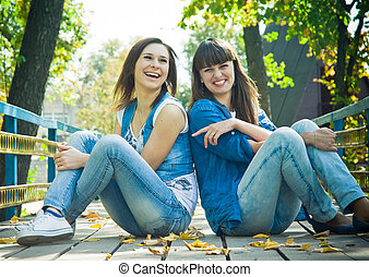 Two girls laughing - Girls laughing happilly