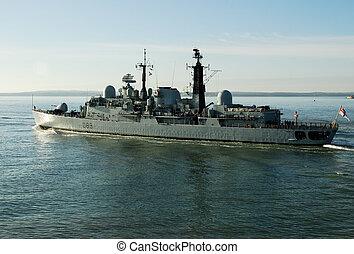 HMS Exeter, Leaving Portsmouth Dockyard - HMS Exeter,...