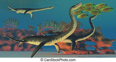 Undersea Plesiosaurus - A school of Lemonpeel Angelfish swim...