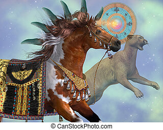 Year of the Cougar Horse - A paint horse and a cougar cat...