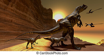 Allosaurus at Sunset - Mother Allosaurus watches as two...