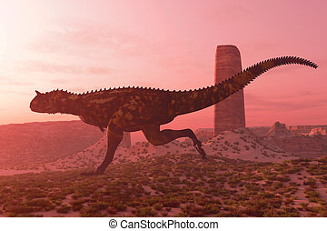 Carnotaurus on the Run - A bull Carnotaurus runs after his...