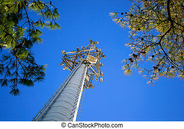 Cell Phone Tower Bottoms Up - Cell Phone Tower from the Base...
