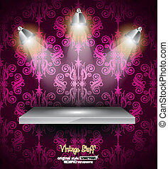 Shelf with 3 LED spotlights with old dirty look on a vintage...