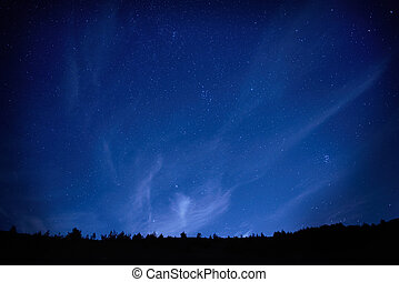 Blue dark night sky with stars. - Blue dark night sky with...