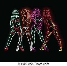 Neon ladies - Set of female figures in neon isolated on...