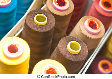 Colorful yarn - Lot of spools with colorful yarn still life