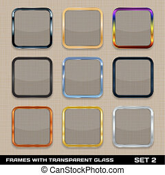 Set Of Colorful App Icon Frames, Templates, Buttons. Set 2. Vector