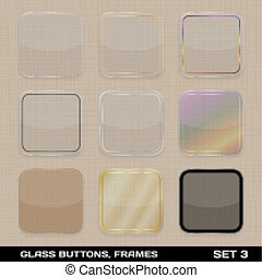 Set Of Colorful App Icon Frames, Templates, Buttons. Set 3. Vector