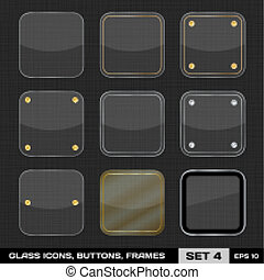 Set Of Colorful App Icon Frames, Templates, Buttons. Set 4. Vector