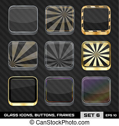 Set Of Colorful App Icon Frames, Templates, Buttons. Set 6. Vector