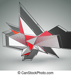 Abstract 3D triangles vector background - Abstract 3D...