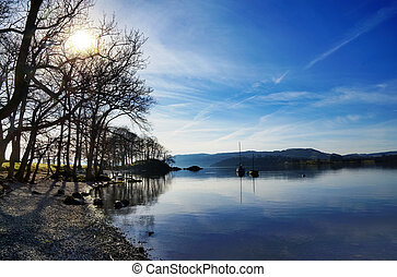 Reflections in Lake Windermere - Peaceful view of boats and...