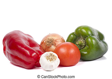 Peppers, Tomatoes, Onion and Garlics