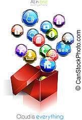 Cloud computing concept background with a lot of glossy...