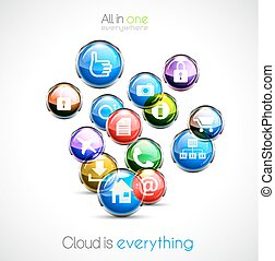 Cloud computin concept background with a lot of glossy...