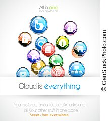 Cloud computin concept background with a lot of glossy sphere icons with feed, like, home, phone, locked,networking and so on!