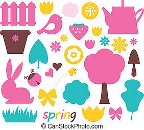 Easter and nature elements set in pastel colors - brown, pink, cyan. Vector illustration