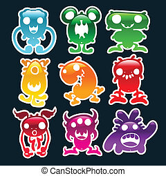 Colorful Glossy Monsters - Set of colorful glossy monsters.
