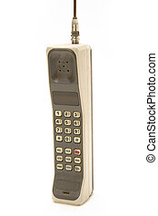Isolated Old and Dirty Cellphone - Early 1990's Style Mobile...