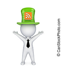 Green top-hat with symbol of RSS.