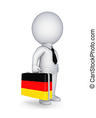 Suitcase with flag of Germany. - 3d small person with...