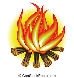 bonfire - colorful illustration with bonfire for your design...