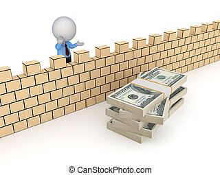 3d person behind the wall and stack of dollars - 3d small...
