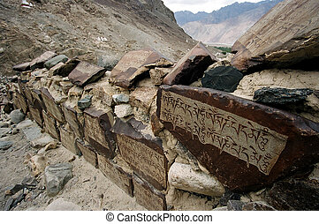 Mountain route in Nubra Valley Ladakh, India with wall paved...