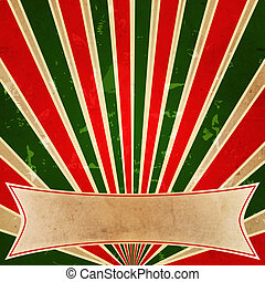 retro background with color lines like rays and text space -...