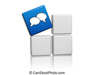speech bubbles sign in blue cube over grey boxes - speech...