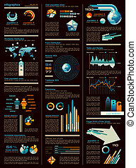 Infographic sheet dark version with a lot of design elements...