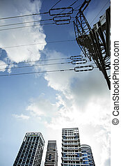 Apartment Buildings & Electricity Pylon