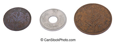 Three vintage coins from pre-Israel Palestine 1930s, called...
