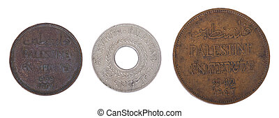 Isolated Palestine Coins - Frontal - Three vintage coins...