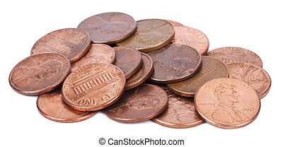 Isolated Pile of Pennies - A pile of 1 US cent penny coins...