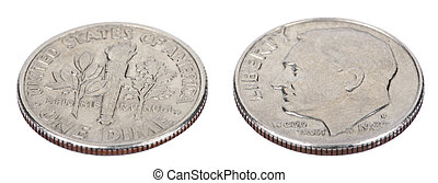 Isolated Dime - Both Sides High Angle - Two sides of a USA...