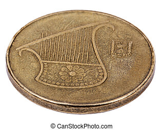 Isolated 1/2 Shekel - Heads High Angle - The obverse side of...
