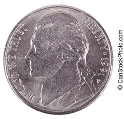 Isolated Nickel - Heads Frontal - The obverse side of a USA...