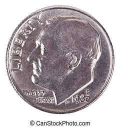 Isolated Dime - Heads Frontal - The obverse side of a USA 10...