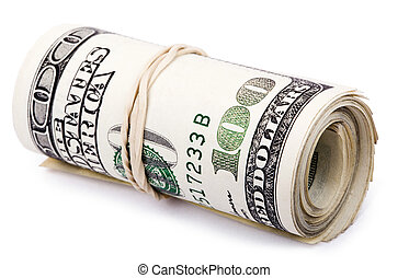 Roll of 100 US$ Bills - A bunch of 100 American Dollars...