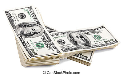 Isolated 100 US$ Bills Stack - Three stacks of 100 US$ money...