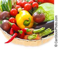 Vegetables still life on the white background