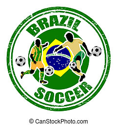Brazil soccer stamp - Grunge stamp with soccer players and...