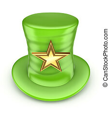 Green top-hat with golden star.