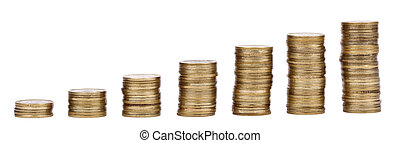 Growing Stacks of Golden Coins - Seven golden coin stacks in...