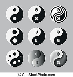 Yin Yang, Symbol Of Balance And Harmony. Set. Vector...