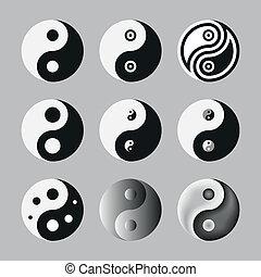 Yin Yang, Symbol Of Balance And Harmony. Set. Vector...